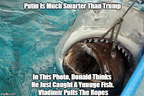 Putin Is Much Smarter Than Trump In This Photo, Donald Thinks He Just Caught A Yuuuge Fish.   Vladimir Pulls The Ropes | made w/ Imgflip meme maker