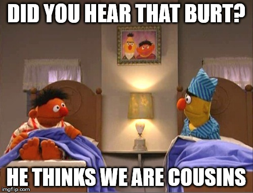 DID YOU HEAR THAT BURT? HE THINKS WE ARE COUSINS | made w/ Imgflip meme maker