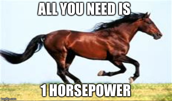 ALL YOU NEED IS 1 HORSEPOWER | made w/ Imgflip meme maker