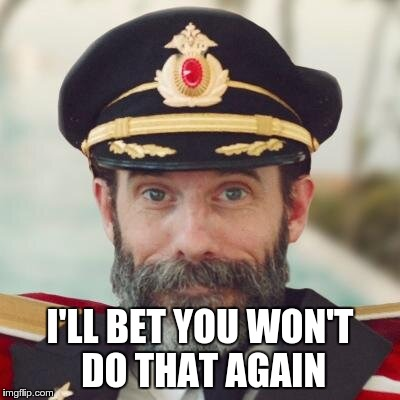 captain obvious | I'LL BET YOU WON'T DO THAT AGAIN | image tagged in captain obvious | made w/ Imgflip meme maker