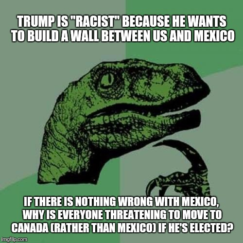 "Philosoraptor Meme | TRUMP IS ""RACIST"" BECAUSE HE WANTS TO BUILD A WALL BETWEEN US AND MEXICO IF THERE IS NOTHING WRONG WITH MEXICO, WHY IS EVERYONE THREATENING  