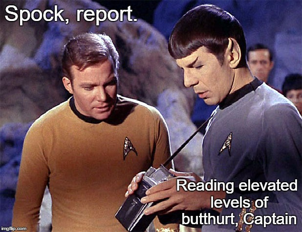 Star Trek tricorder | Spock, report. Reading elevated levels of butthurt, Captain | image tagged in star trek tricorder | made w/ Imgflip meme maker