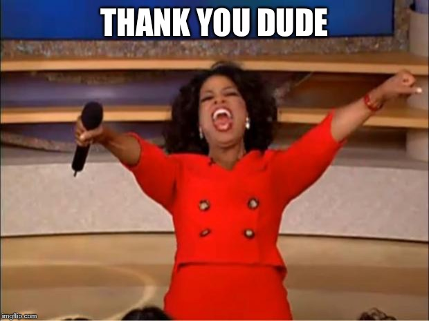 THANK YOU DUDE | image tagged in memes,oprah you get a | made w/ Imgflip meme maker