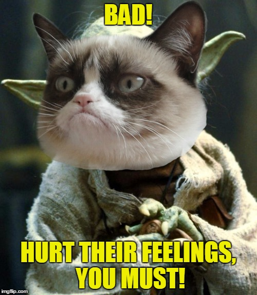 BAD! HURT THEIR FEELINGS, YOU MUST! | made w/ Imgflip meme maker