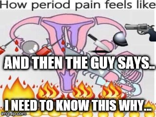 And Then the Guy Says...  I need to know this why... | AND THEN THE GUY SAYS.. I NEED TO KNOW THIS WHY... | image tagged in period,blood,bloating,female,monthly | made w/ Imgflip meme maker