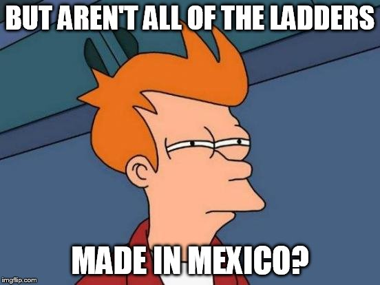 Futurama Fry Meme | BUT AREN'T ALL OF THE LADDERS MADE IN MEXICO? | image tagged in memes,futurama fry | made w/ Imgflip meme maker
