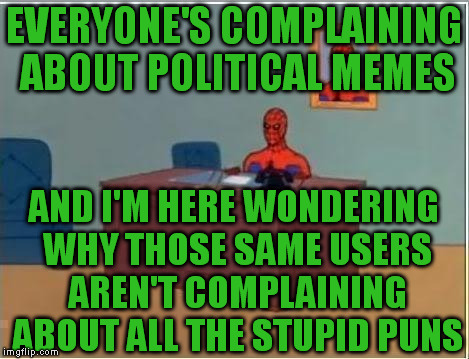 Spidey | EVERYONE'S COMPLAINING ABOUT POLITICAL MEMES AND I'M HERE WONDERING WHY THOSE SAME USERS AREN'T COMPLAINING ABOUT ALL THE STUPID PUNS | image tagged in spidey | made w/ Imgflip meme maker