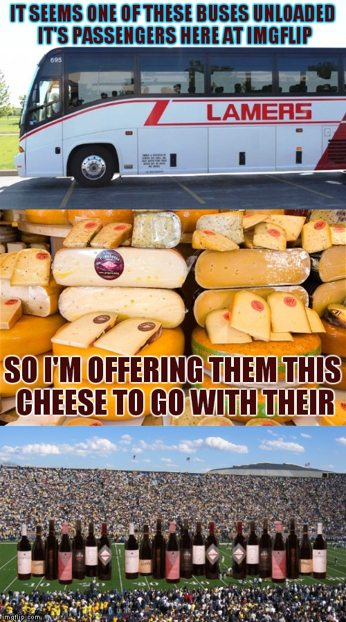 If you don't like something then don't look at it grow up | IT SEEMS ONE OF THESE BUSES UNLOADED IT'S PASSENGERS HERE AT IMGFLIP SO I'M OFFERING THEM THIS CHEESE TO GO WITH THEIR | image tagged in memes,whiners,crybabies,custom template | made w/ Imgflip meme maker