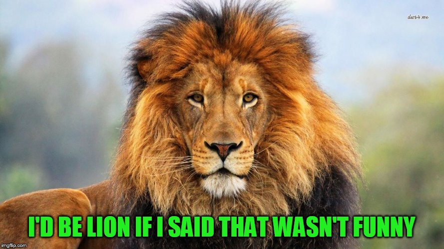 I'D BE LION IF I SAID THAT WASN'T FUNNY | made w/ Imgflip meme maker