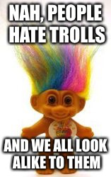 Troll | NAH, PEOPLE HATE TROLLS AND WE ALL LOOK ALIKE TO THEM | image tagged in troll | made w/ Imgflip meme maker