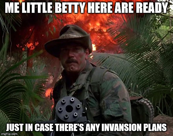 ME LITTLE BETTY HERE ARE READY JUST IN CASE THERE'S ANY INVANSION PLANS | image tagged in jesse ventura predator | made w/ Imgflip meme maker