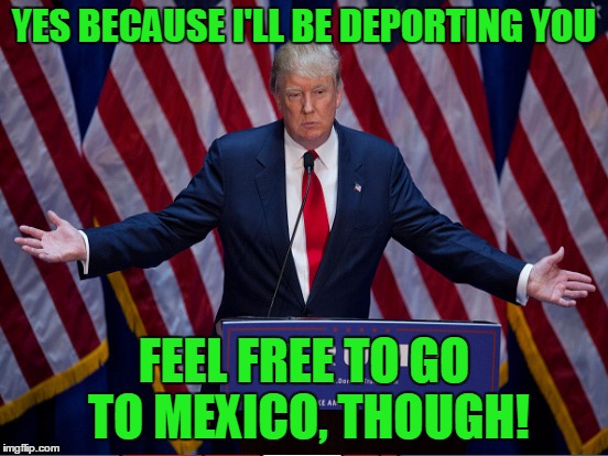 YES BECAUSE I'LL BE DEPORTING YOU FEEL FREE TO GO TO MEXICO, THOUGH! | made w/ Imgflip meme maker
