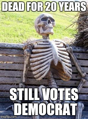 Waiting Skeleton |  DEAD FOR 20 YEARS; STILL VOTES DEMOCRAT | image tagged in memes,waiting skeleton | made w/ Imgflip meme maker