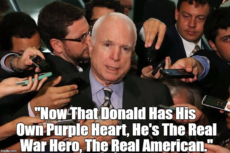 """Now That Donald Has His Own Purple Heart, He's The Real War Hero, The Real American."" 