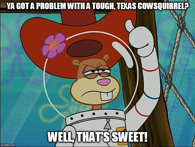 Ya Got A Problem With A Tough, Texas Cowsquirrel? | YA GOT A PROBLEM WITH A TOUGH, TEXAS COWSQUIRREL? WELL, THAT'S SWEET! | image tagged in sandy cheeks,memes,spongebob squarepants,sandy cheeks cowboy hat,texas girl | made w/ Imgflip meme maker