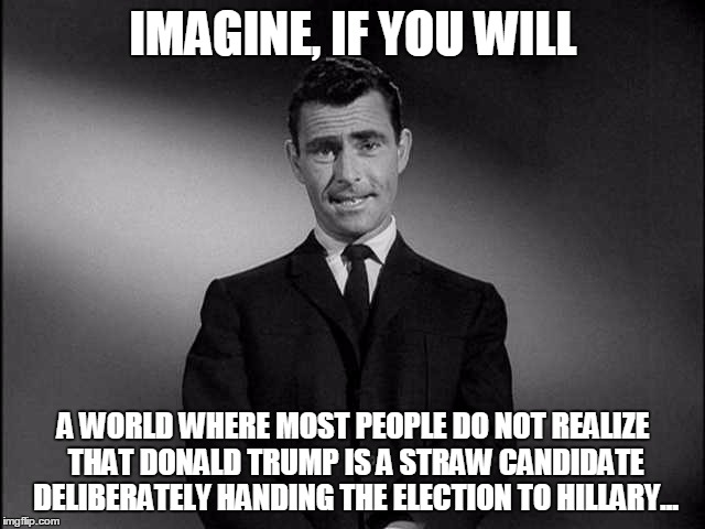 Imagine If You Will...... | IMAGINE, IF YOU WILL A WORLD WHERE MOST PEOPLE DO NOT REALIZE THAT DONALD TRUMP IS A STRAW CANDIDATE DELIBERATELY HANDING THE ELECTION TO HI | image tagged in imagine if you will | made w/ Imgflip meme maker