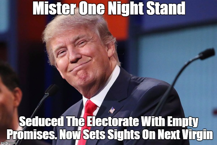 Mister One Night Stand Seduced The Electorate With Empty Promises. Now Sets Sights On Next Virgin | made w/ Imgflip meme maker