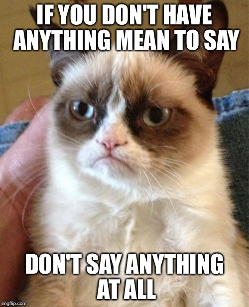 Grumpy Cat Meme | IF YOU DON'T HAVE ANYTHING MEAN TO SAY DON'T SAY ANYTHING AT ALL | image tagged in memes,grumpy cat | made w/ Imgflip meme maker