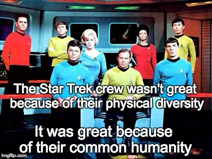 Real Diversity Honors Commonality | The Star Trek crew wasn't great because of their physical diversity It was great because of their common humanity | image tagged in star trek,diversity | made w/ Imgflip meme maker
