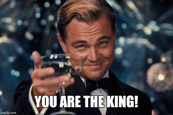 Leonardo Dicaprio Cheers Meme | YOU ARE THE KING! | image tagged in memes,leonardo dicaprio cheers | made w/ Imgflip meme maker