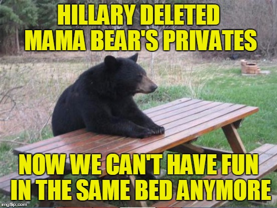 HILLARY DELETED MAMA BEAR'S PRIVATES NOW WE CAN'T HAVE FUN IN THE SAME BED ANYMORE | made w/ Imgflip meme maker