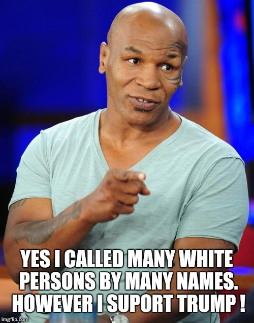 Surprise I am down with Trump ! | YES I CALLED MANY WHITE PERSONS BY MANY NAMES. HOWEVER I SUPORT TRUMP ! | image tagged in mike tyson | made w/ Imgflip meme maker