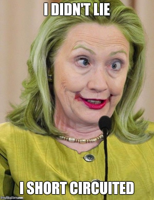 Hillary Clinton Cross Eyed |  I DIDN'T LIE; I SHORT CIRCUITED | image tagged in hillary clinton cross eyed | made w/ Imgflip meme maker