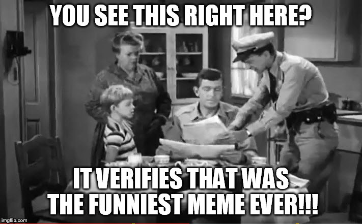 Sunday Morning Memes | YOU SEE THIS RIGHT HERE? IT VERIFIES THAT WAS THE FUNNIEST MEME EVER!!! | image tagged in andy griffith news,funniest meme,funniest | made w/ Imgflip meme maker
