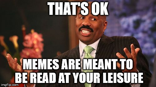 Steve Harvey Meme | THAT'S OK MEMES ARE MEANT TO BE READ AT YOUR LEISURE | image tagged in memes,steve harvey | made w/ Imgflip meme maker
