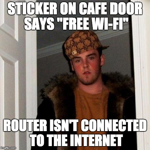 "Scumbag Steve Meme | STICKER ON CAFE DOOR SAYS ""FREE WI-FI"" ROUTER ISN'T CONNECTED TO THE INTERNET 