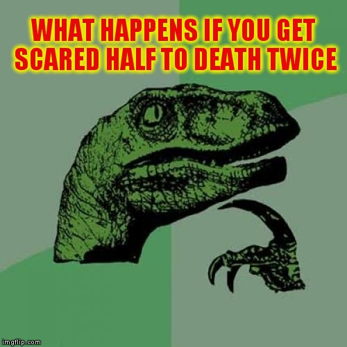 Philosoraptor Meme | WHAT HAPPENS IF YOU GET SCARED HALF TO DEATH TWICE | image tagged in memes,philosoraptor | made w/ Imgflip meme maker