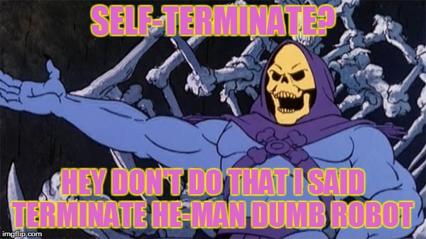 SELF-TERMINATE? HEY DON'T DO THAT I SAID TERMINATE HE-MAN DUMB ROBOT | made w/ Imgflip meme maker