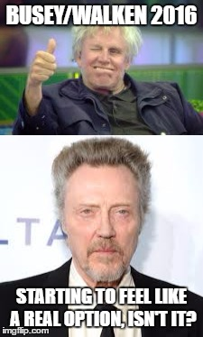 Busy/Walken 2016 How do you like us now |  BUSEY/WALKEN 2016; STARTING TO FEEL LIKE A REAL OPTION, ISN'T IT? | image tagged in 2016 election,america,screwed | made w/ Imgflip meme maker