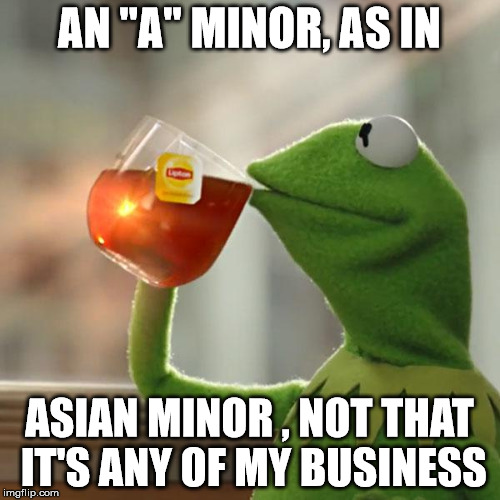 "But Thats None Of My Business Meme | AN ""A"" MINOR, AS IN ASIAN MINOR , NOT THAT IT'S ANY OF MY BUSINESS 