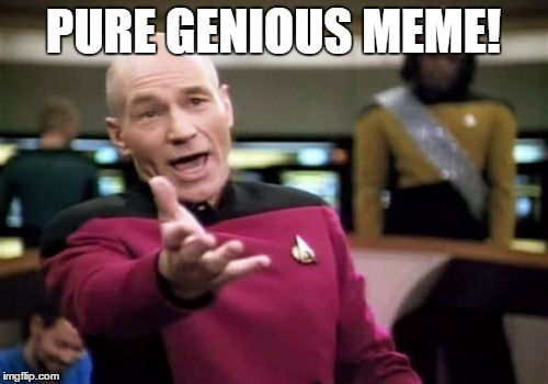 Picard Wtf Meme | PURE GENIOUS MEME! | image tagged in memes,picard wtf | made w/ Imgflip meme maker