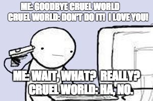 Computer Suicide |  ME: GOODBYE CRUEL WORLD          CRUEL WORLD: DON'T DO IT!  I LOVE YOU! ME: WAIT, WHAT?  REALLY?    CRUEL WORLD: HA, NO. | image tagged in computer suicide | made w/ Imgflip meme maker