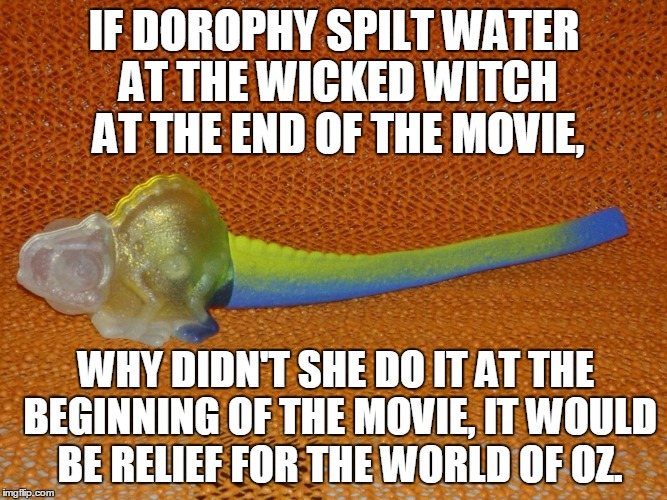 IF DOROPHY SPILT WATER AT THE WICKED WITCH AT THE END OF THE MOVIE, WHY DIDN'T SHE DO IT AT THE BEGINNING OF THE MOVIE, IT WOULD BE RELIEF F | image tagged in logic chameleon | made w/ Imgflip meme maker