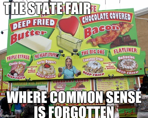 Deep Fried Butter: 'Murica |  THE STATE FAIR; WHERE COMMON SENSE IS FORGOTTEN | image tagged in state fair,obesity,french fries,memes,healthcare,bacon is god | made w/ Imgflip meme maker