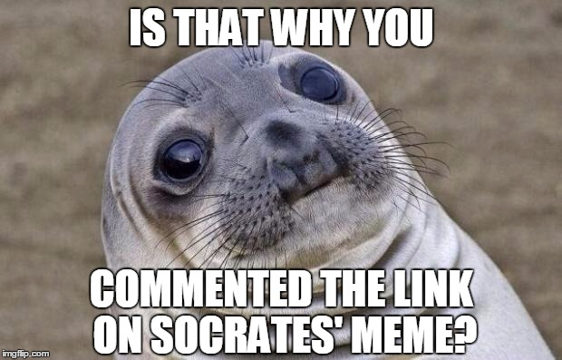 Awkward Moment Sealion Meme | IS THAT WHY YOU COMMENTED THE LINK ON SOCRATES' MEME? | image tagged in memes,awkward moment sealion | made w/ Imgflip meme maker