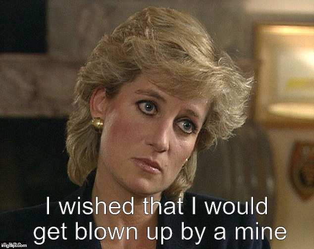 Princess Diana, mein wish | I wished that I would get blown up by a mine | image tagged in princess,diana,mine,mein,wish | made w/ Imgflip meme maker