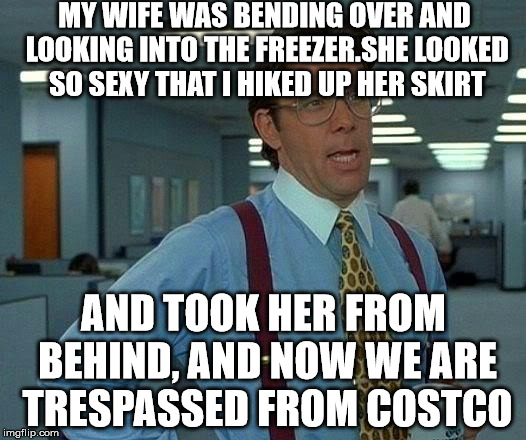 That Would Be Great Meme | MY WIFE WAS BENDING OVER AND LOOKING INTO THE FREEZER.SHE LOOKED SO SEXY THAT I HIKED UP HER SKIRT AND TOOK HER FROM BEHIND, AND NOW WE ARE  | image tagged in memes,that would be great | made w/ Imgflip meme maker