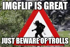 IMGFLIP IS GREAT JUST BEWARE OF TROLLS | made w/ Imgflip meme maker