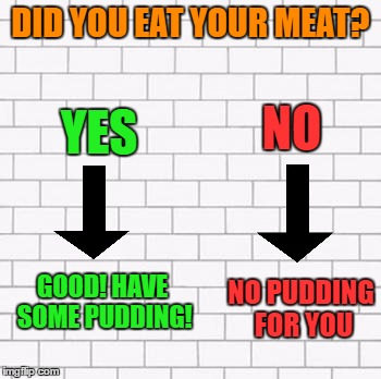 Wrong, Do It Again! (This is my 600th submission!) | DID YOU EAT YOUR MEAT? YES NO GOOD! HAVE SOME PUDDING! NO PUDDING FOR YOU | image tagged in pink floyd,memes,lynch1979,all these new memers are making me happy | made w/ Imgflip meme maker