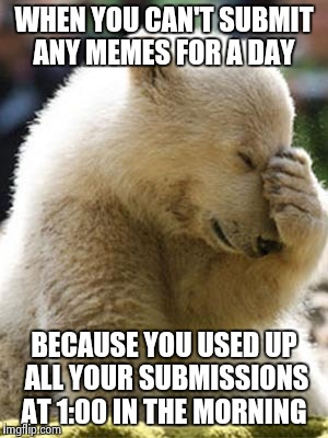 Facepalm Bear |  WHEN YOU CAN'T SUBMIT ANY MEMES FOR A DAY; BECAUSE YOU USED UP ALL YOUR SUBMISSIONS AT 1:00 IN THE MORNING | image tagged in memes,facepalm bear | made w/ Imgflip meme maker