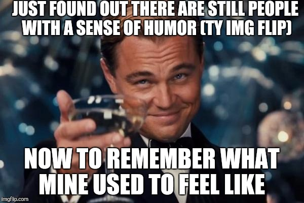 Let's just say I had to get used to having to keep the funny to myself  | JUST FOUND OUT THERE ARE STILL PEOPLE WITH A SENSE OF HUMOR (TY IMG FLIP) NOW TO REMEMBER WHAT MINE USED TO FEEL LIKE | image tagged in memes,leonardo dicaprio cheers | made w/ Imgflip meme maker