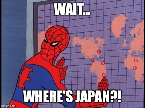 spiderman map | WAIT... WHERE'S JAPAN?! | image tagged in spiderman map | made w/ Imgflip meme maker