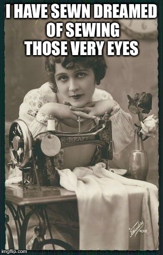 I HAVE SEWN DREAMED OF SEWING THOSE VERY EYES | made w/ Imgflip meme maker