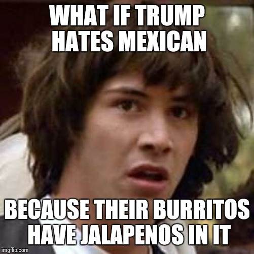 Conspiracy Keanu Meme |  WHAT IF TRUMP HATES MEXICAN; BECAUSE THEIR BURRITOS HAVE JALAPENOS IN IT | image tagged in memes,conspiracy keanu | made w/ Imgflip meme maker