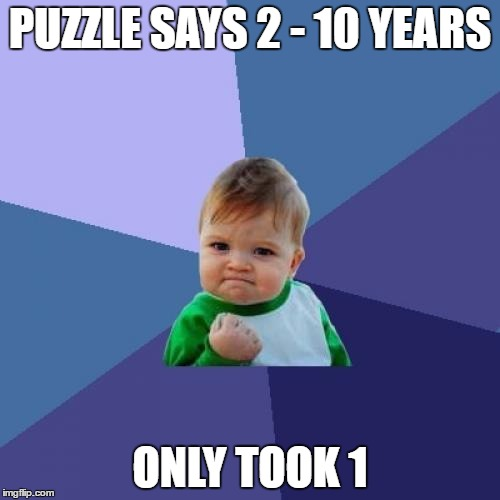 Kid : Motha im hipsta dis took me 1 yr boi. Mom : ok | PUZZLE SAYS 2 - 10 YEARS ONLY TOOK 1 | image tagged in memes,success kid | made w/ Imgflip meme maker