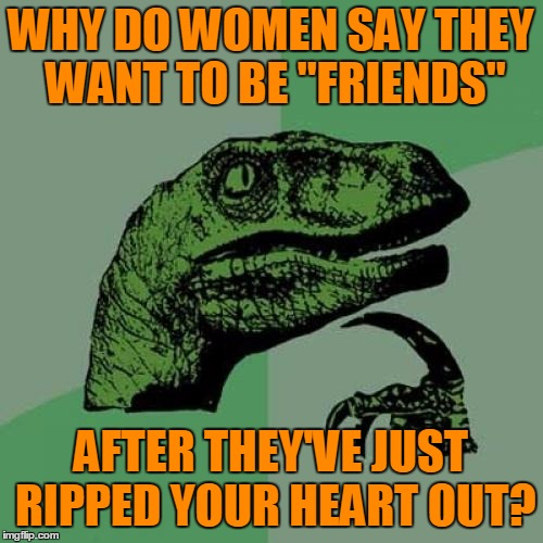 "Philosoraptor Meme | WHY DO WOMEN SAY THEY WANT TO BE ""FRIENDS"" AFTER THEY'VE JUST RIPPED YOUR HEART OUT? 